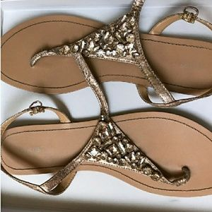 Shoes - 🔥1DAY SALE GOLD JEWELED SANDALS